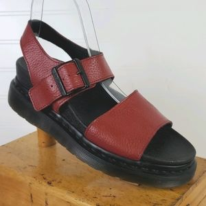 Dr. Martens Romi Red Leather Strap Flat Sandals 7